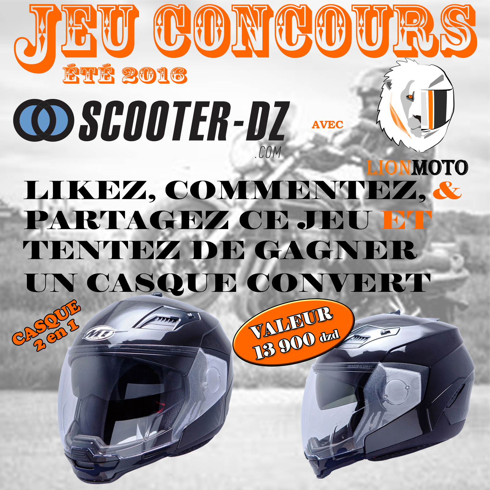 jeu concours facebook sdz lion moto 2016 scooter dz. Black Bedroom Furniture Sets. Home Design Ideas