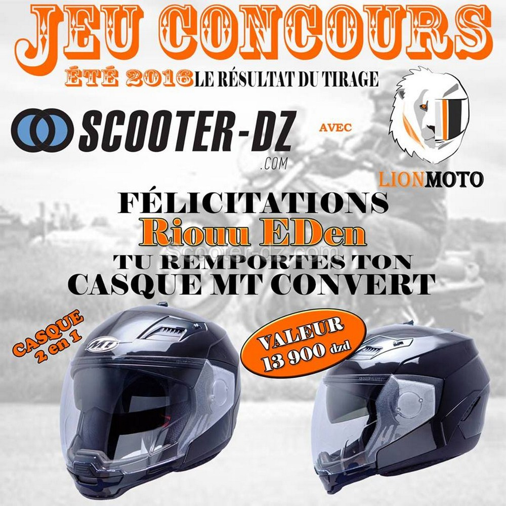 r sultat du jeu concours t 2016 scooter dz lion moto scooter dz. Black Bedroom Furniture Sets. Home Design Ideas