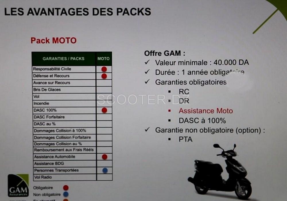 Tableau des garanties pack Moto GAM