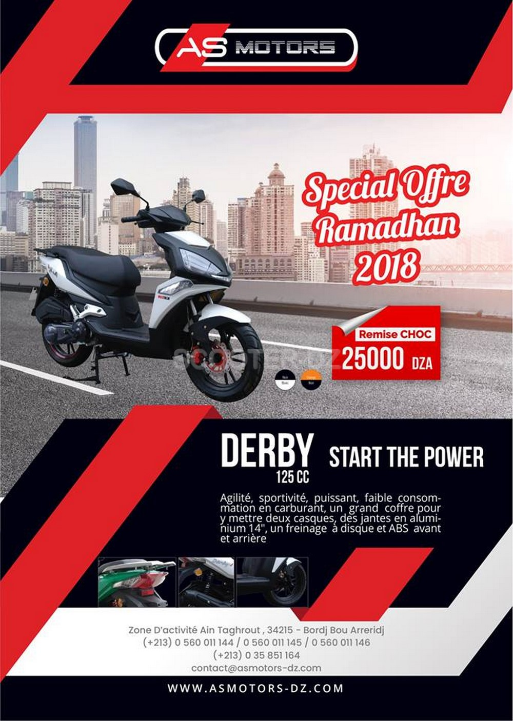 AS Motors : remise de 25.000 dinars sur le scooter, Derby 125