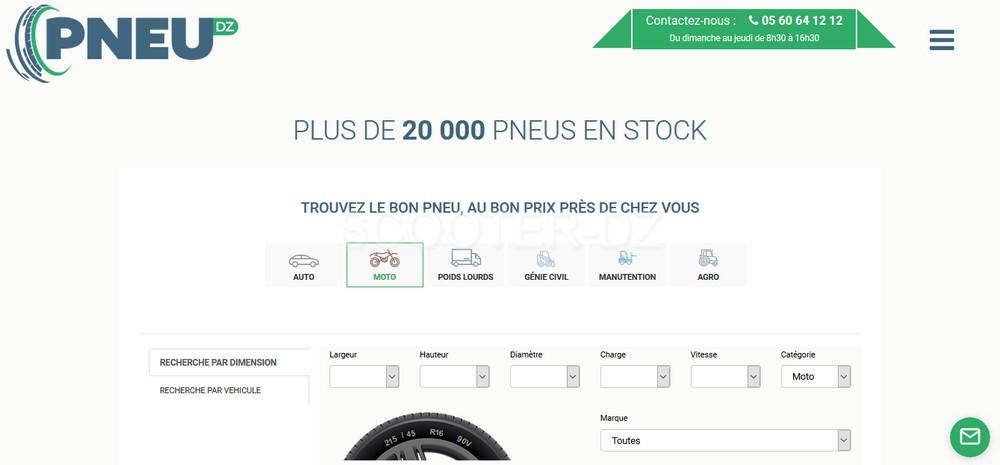 PNEU-DZ.com, 20.000 références de pneus auto/moto en ligne