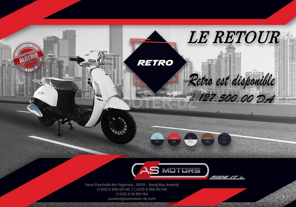 AS MOTORS Algérie : le scooter compact RETRO 125 à nous disponible ...