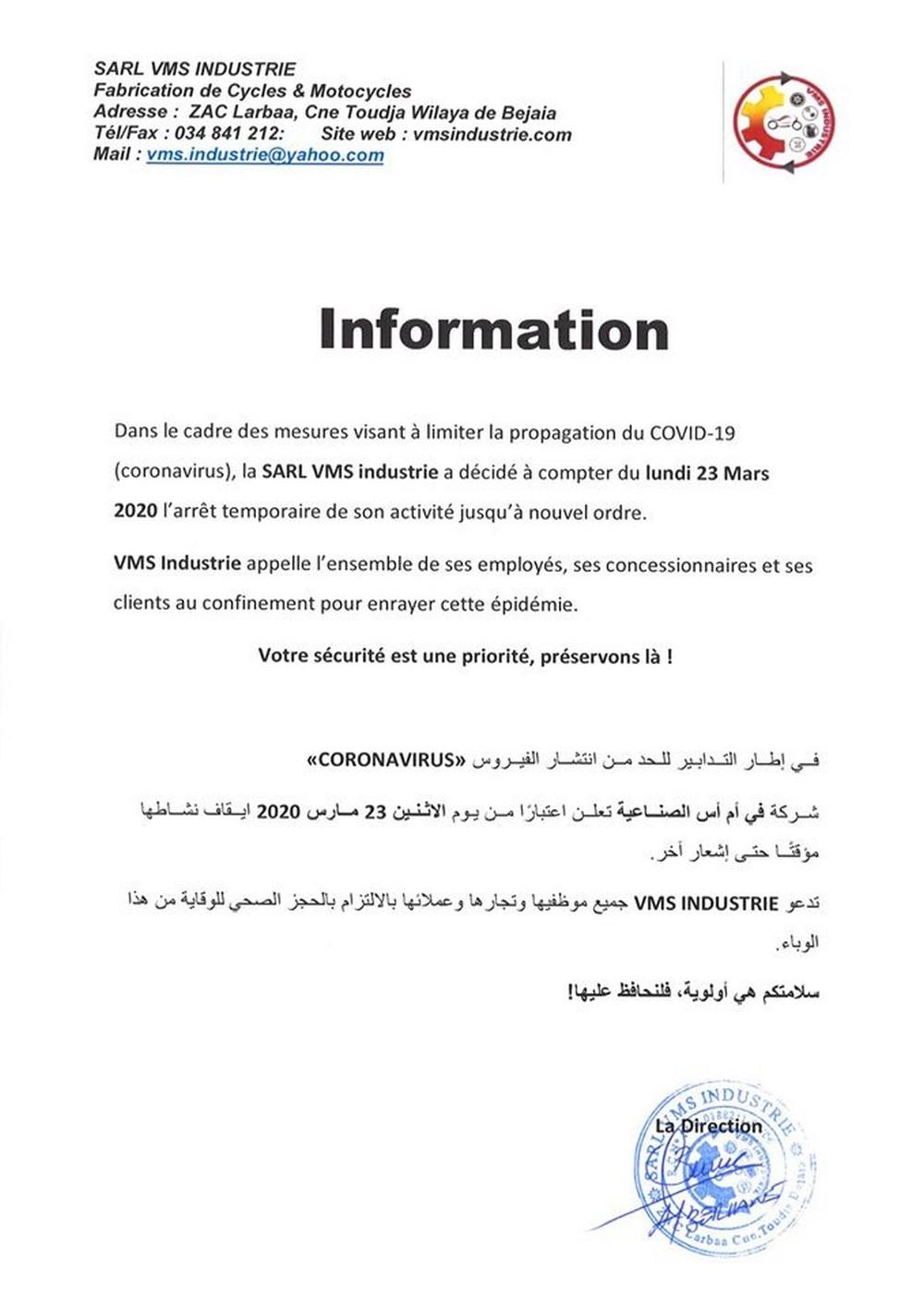 VMS Industrie : Fermeture de l'usine pour cause de COVID-19